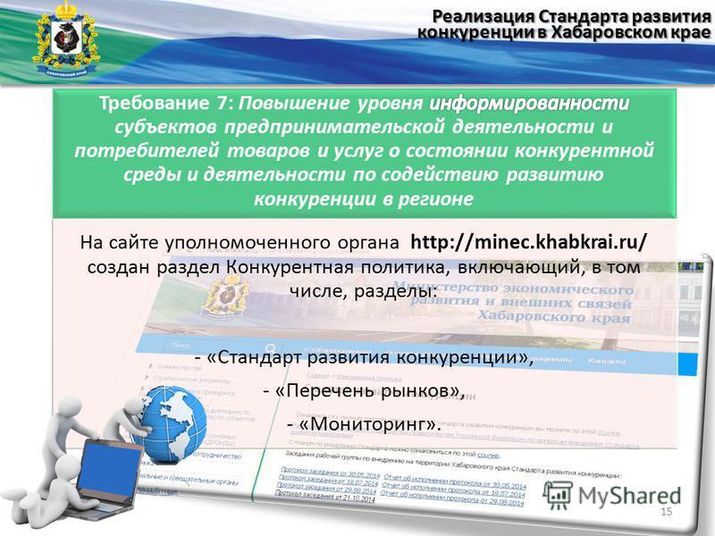 На сайте уполномоченного органа http://minec.khabkrai.ru/ создан раздел Конкурентная политика, включающий, в том числе, разделы: - «Стандарт развития конкуренции», - «Перечень рынков», - «Мониторинг». 15 Реализация Стандарта развития конкуренции в Ха