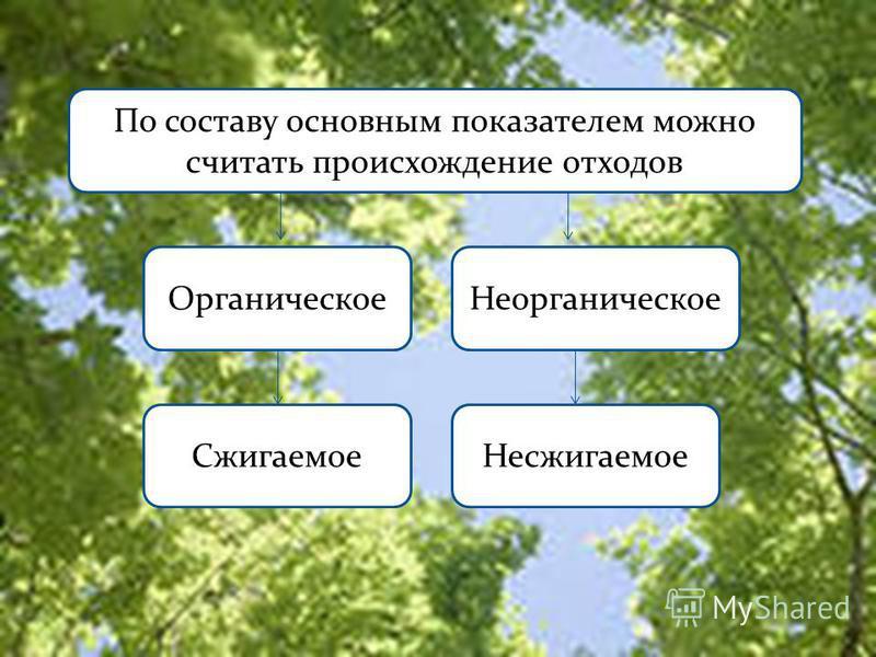 По составу основным показателем можно считать происхождение отходов Органическое Неорганическое Сжигаемое Несжигаемое
