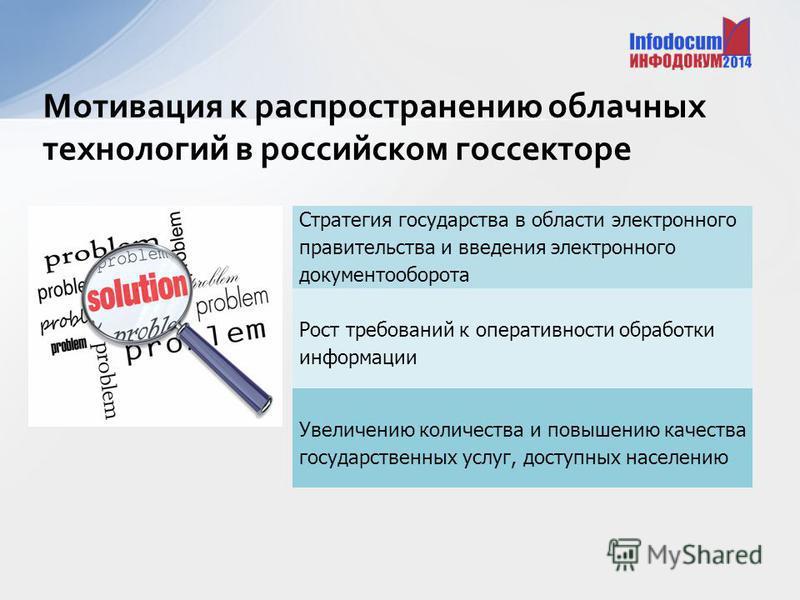 Мотивация к распространению облачных технологий в российском госсекторе Стратегия государства в области электронного правительства и введения электронного документооборота Рост требований к оперативности обработки информации Увеличению количества и п