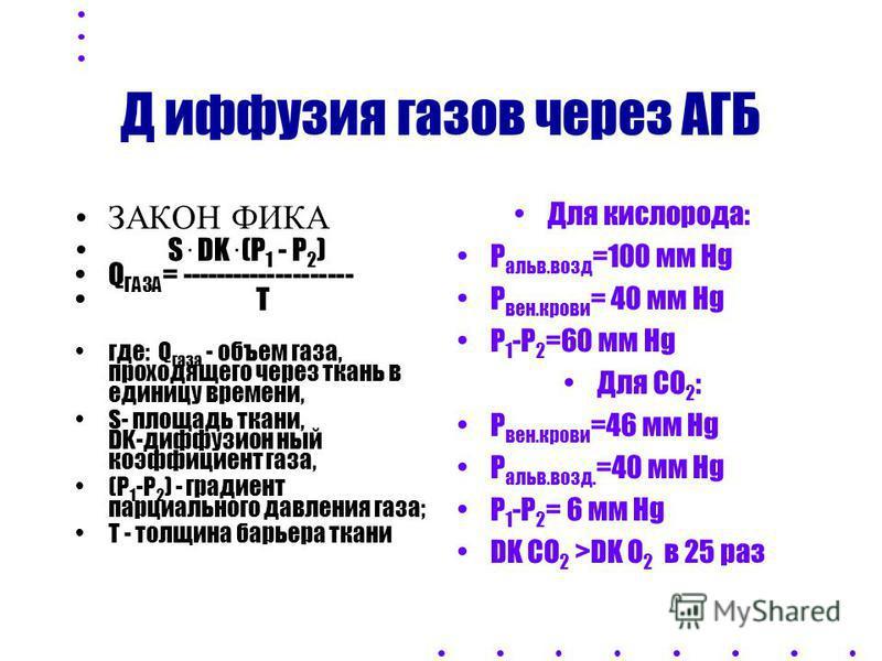 ЗАКОН ФИКА S. DK. (P 1 - P 2 ) Q ГАЗА = -------------------- T где: Q газа - объем газа, проходящего через ткань в единицу времени, S- площадь ткани, DK-диффузион- ный коэффициент газа, (Р 1 -Р 2 ) - градиент парциального давления газа; Т - толщина б