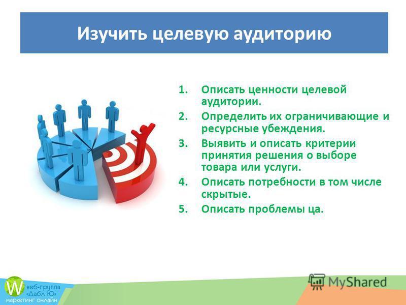 Изучить целевую аудиторию 1. Описать ценности целевой аудитории. 2. Определить их ограничивающие и ресурсные убеждения. 3. Выявить и описать критерии принятия решения о выборе товара или услуги. 4. Описать потребности в том числе скрытые. 5. Описать