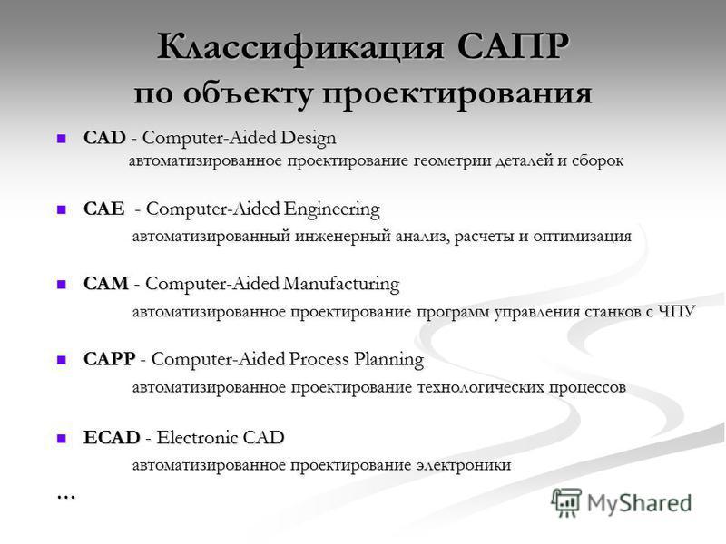 Классификация САПР по объекту проектирования CAD - Computer-Aided Design автоматизированное проектирование геометрии деталей и сборок CAD - Computer-Aided Design автоматизированное проектирование геометрии деталей и сборок CAE - Computer-Aided Engine