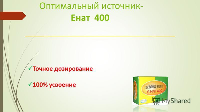 Точное дозирование 100% усвоение Оптимальный источник- Енат 400