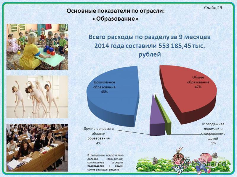 Слайд 29 Основные показатели по отрасли: «Образование» В диаграмме представлено долевое (процентное) соотношение расходов подразделов к общей сумме расходов раздела