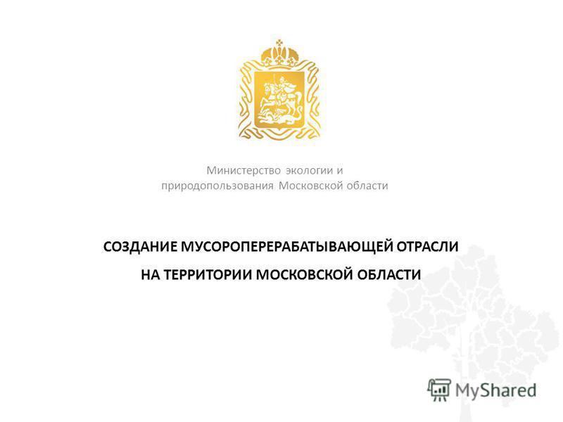СОЗДАНИЕ МУСОРОПЕРЕРАБАТЫВАЮЩЕЙ ОТРАСЛИ НА ТЕРРИТОРИИ МОСКОВСКОЙ ОБЛАСТИ Министерство экологии и природопользования Московской области