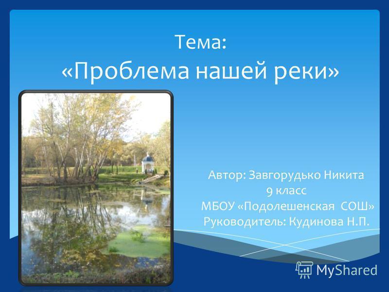Тема: «Проблема нашей реки» Автор: Завгорудько Никита 9 класс МБОУ «Подолешенская СОШ» Руководитель: Кудинова Н.П.