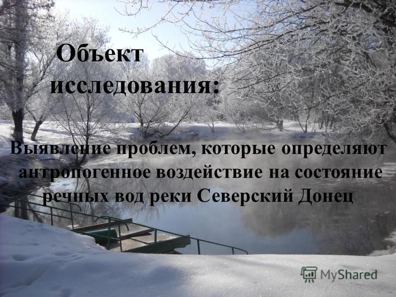 Объект исследования: Выявление проблем, которые определяют антропогенное воздействие на состояние речных вод реки Северский Донец