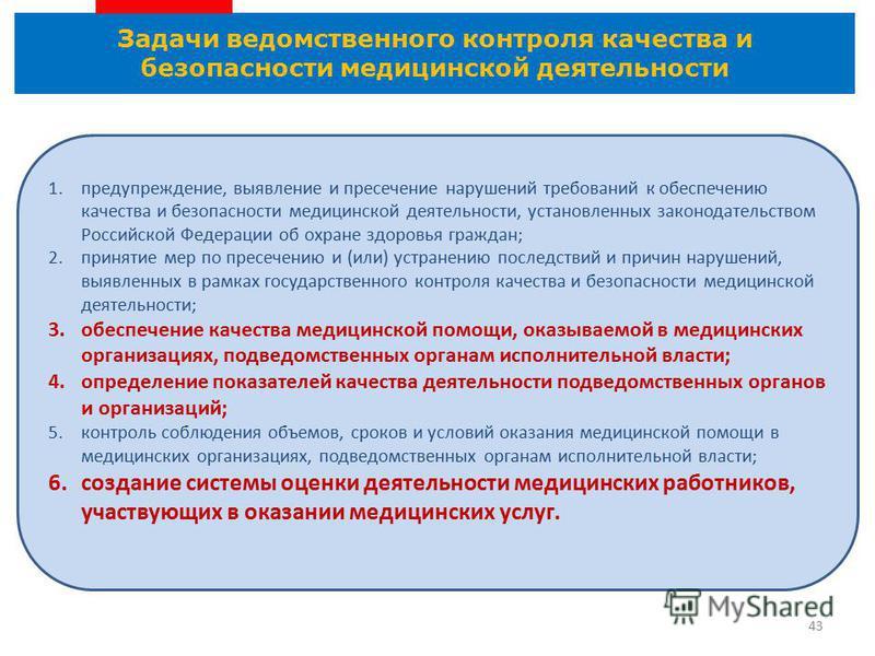 Задачи ведомственного контроля качества и безопасности медицинской деятельности 43 1.предупреждение, выявление и пресечение нарушений требований к обеспечению качества и безопасности медицинской деятельности, установленных законодательством Российско