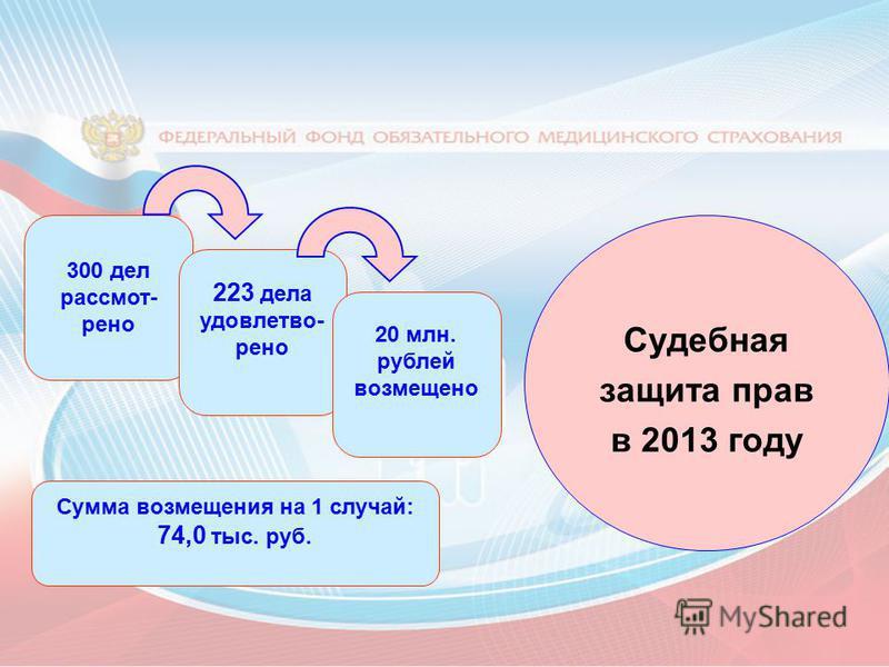 Судебная защита прав в 2013 году 300 дел рассмот- рено Сумма возмещения на 1 случай: 74,0 тыс. руб. 223 дела удовлетво- рено 20 млн. рублей возмещено