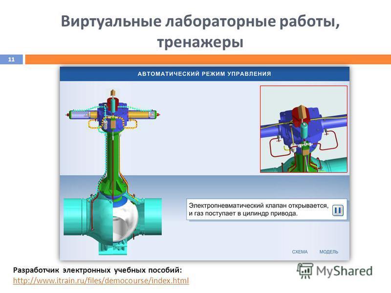 Виртуальные лабораторные работы, тренажеры Разработчик электронных учебных пособий: http://www.itrain.ru/files/democourse/index.html http://www.itrain.ru/files/democourse/index.html 11