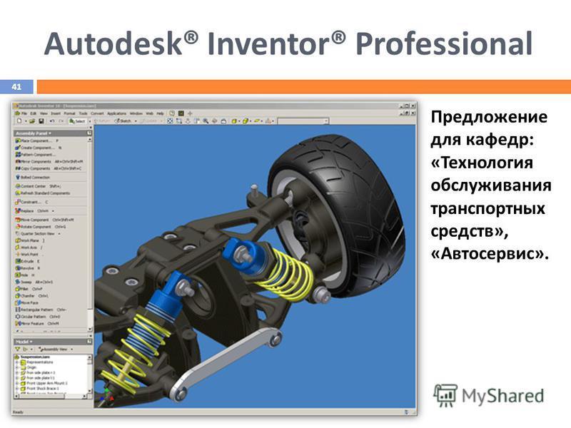Предложение для кафедр: «Технология обслуживания транспортных средств», «Автосервис». Autodesk® Inventor® Professional 41