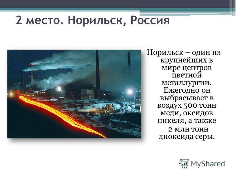 2 место. Норильск, Россия Норильск – один из крупнейших в мире центров цветной металлургии. Ежегодно он выбрасывает в воздух 500 тонн меди, оксидов никеля, а также 2 млн тонн диоксида серы.