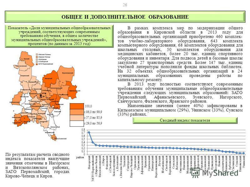 В рамках комплекса мер по модернизации общего образования в Кировской области в 2013 году для общеобразовательных организаций приобретено 460 комплек- тов учебно-лабораторного оборудования, 643 комплекта компьютерного оборудования, 68 комплектов обор