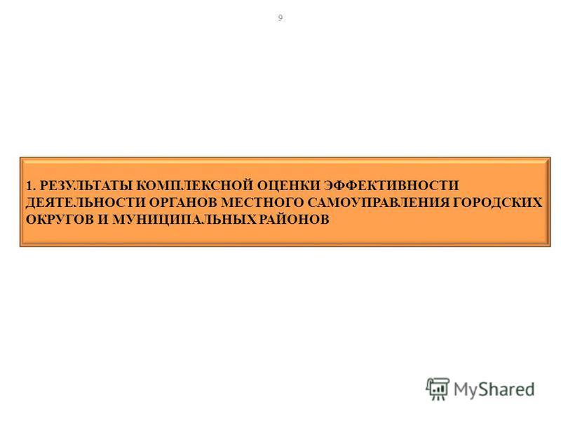 1. РЕЗУЛЬТАТЫ КОМПЛЕКСНОЙ ОЦЕНКИ ЭФФЕКТИВНОСТИ ДЕЯТЕЛЬНОСТИ ОРГАНОВ МЕСТНОГО САМОУПРАВЛЕНИЯ ГОРОДСКИХ ОКРУГОВ И МУНИЦИПАЛЬНЫХ РАЙОНОВ 9