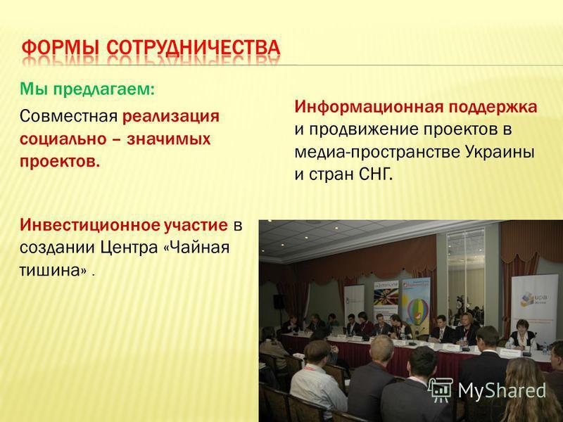 Мы предлагаем: Совместная реализация социально – значимых проектов. Инвестиционное участие в создании Центра «Чайная тишина». Информационная поддержка и продвижение проектов в медиа-пространстве Украины и стран СНГ.