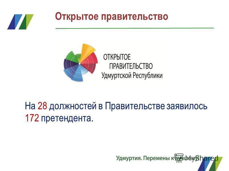 Открытое правительство На 28 должностей в Правительстве заявилось 172 претендента.