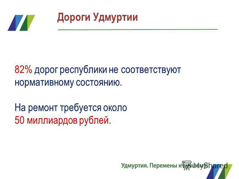 Дороги Удмуртии 82% дорог республики не соответствуют нормативному состоянию. На ремонт требуется около 50 миллиардов рублей.