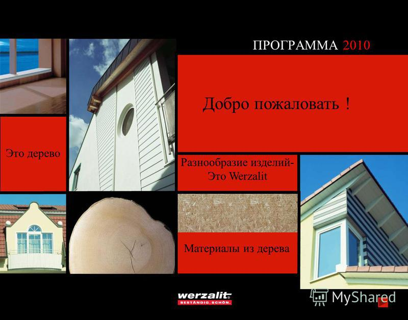 Это дерево Материалы из дерева Разнообразие изделий- Это Werzalit ПРОГРАММА 2010 Добро пожаловать !
