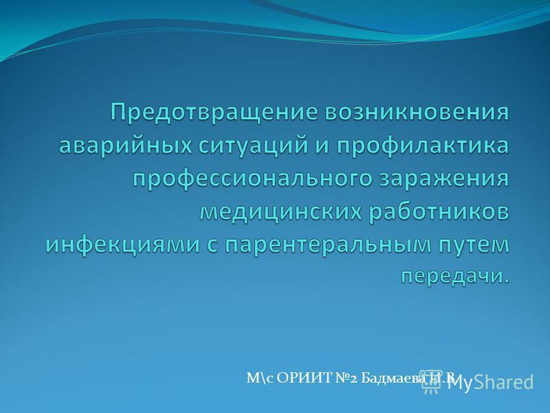 М\с ОРИИТ 2 Бадмаева И.В.