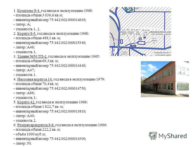 1. Комплекс 8-4, год ввода в эксплуатацию 1968: - площадь общая 3 036,6 кв.м; - инвентарный номер 75:442:002:000014630; - литер: А; - этажность 1, 2. 2. Корпус 8-5, год ввода в эксплуатацию 1968: - площадь общая 488,1 кв. м; - инвентарный номер 75:44