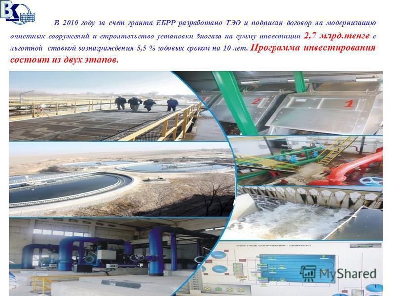 В 2010 году за счет гранта ЕБРР разработано ТЭО и подписан договор на модернизацию очистных сооружений и строительство установки биогаза на сумму инвестиции 2,7 млрд.тенге с льготной ставкой вознаграждения 5,5 % годовых сроком на 10 лет. Программа ин