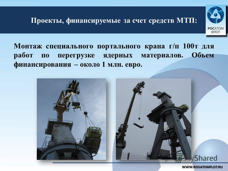 Проекты, финансируемые за счет средств МТП: WWW.ROSATOMFLOT.RU Монтаж специального портального крана г/п 100 т для работ по перегрузке ядерных материалов. Объем финансирования – около 1 млн. евро.