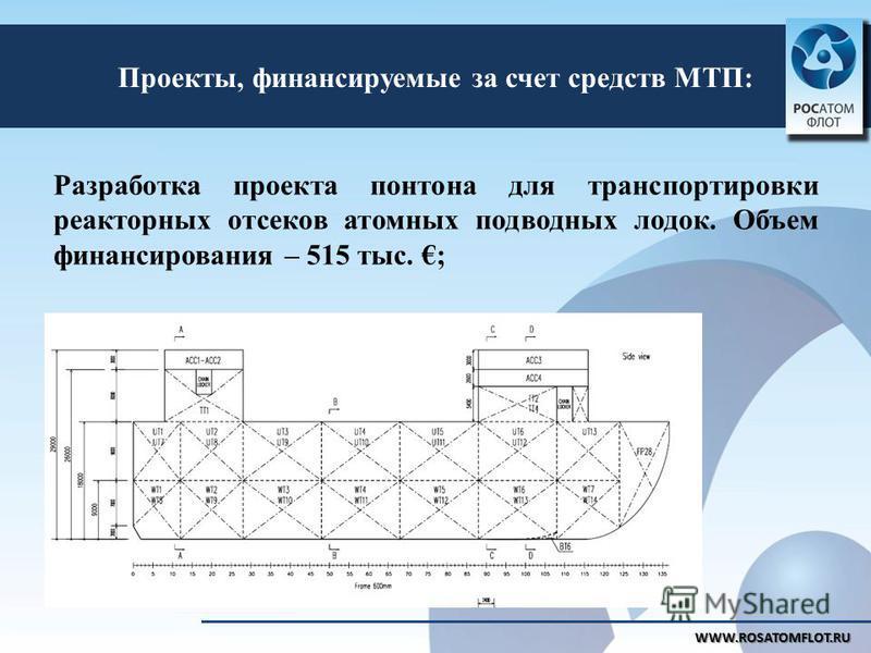 Проекты, финансируемые за счет средств МТП: Разработка проекта понтона для транспортировки реакторных отсеков атомных подводных лодок. Объем финансирования – 515 тыс. ; WWW.ROSATOMFLOT.RU