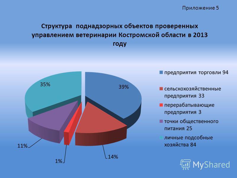 Структура поднадзорных объектов проверенных управлением ветеринарии Костромской области в 2013 году Приложение 5