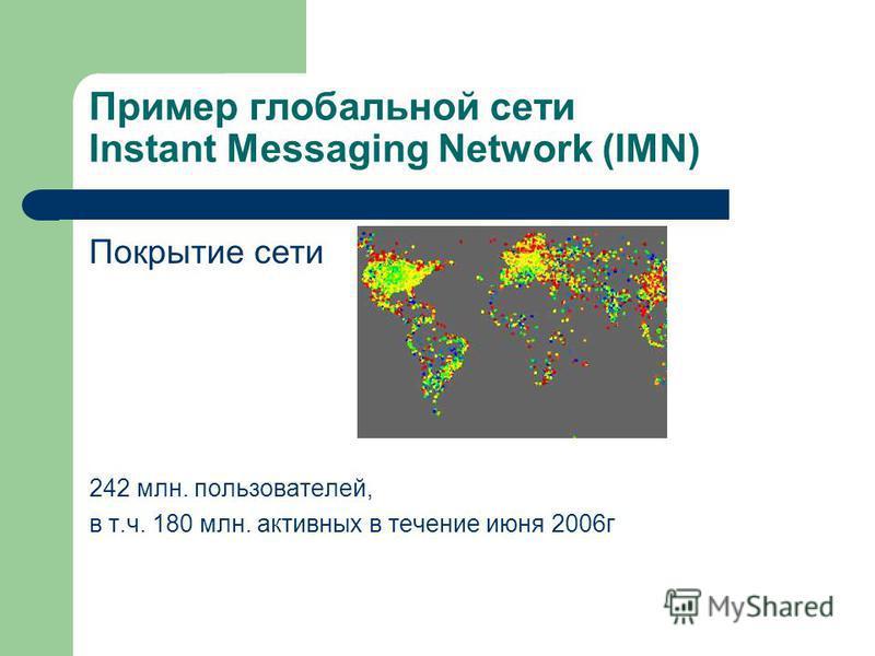 Пример глобальной сети Instant Messaging Network (IMN) Покрытие сети 242 млн. пользователей, в т.ч. 180 млн. активных в течение июня 2006 г