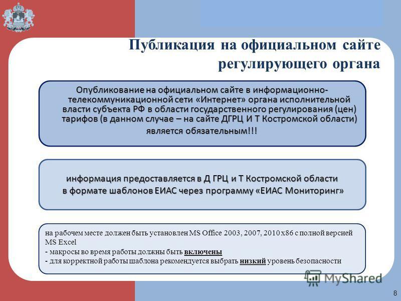 ПТ 8 Публикация на официальном сайте регулирующего органа Опубликование на официальном сайте в информационно- телекоммуникационной сети «Интернет» органа исполнительной власти субъекта РФ в области государственного регулирования (цен) тарифов (в данн
