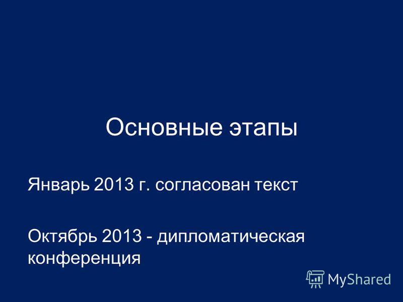Основные этапы Январь 2013 г. согласован текст Октябрь 2013 - дипломатическая конференция