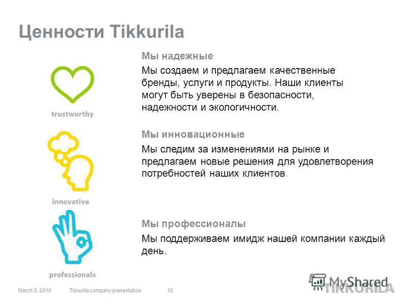 12 Ценности Tikkurila Мы инновационные Мы следим за изменениями на рынке и предлагаем новые решения для удовлетворения потребностей наших клиентов. Мы надежные Мы создаем и предлагаем качественные бренды, услуги и продукты. Наши клиенты могут быть ув