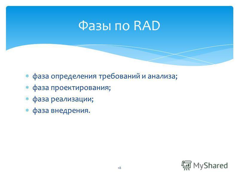 фаза определения требований и анализа; фаза проектирования; фаза реализации; фаза внедрения. 18 Фазы по RAD