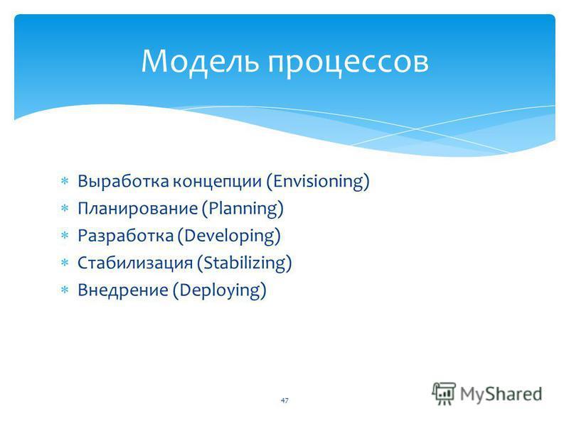 Выработка концепции (Envisioning) Планирование (Planning) Разработка (Developing) Стабилизация (Stabilizing) Внедрение (Deploying) Модель процессов 47