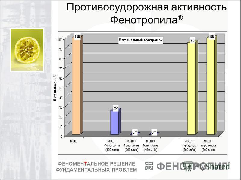 ФЕНОМЕНТАЛЬНОЕ РЕШЕНИЕ ФУНДАМЕНТАЛЬНЫХ ПРОБЛЕМ Противосудорожная активность Фенотропила ®