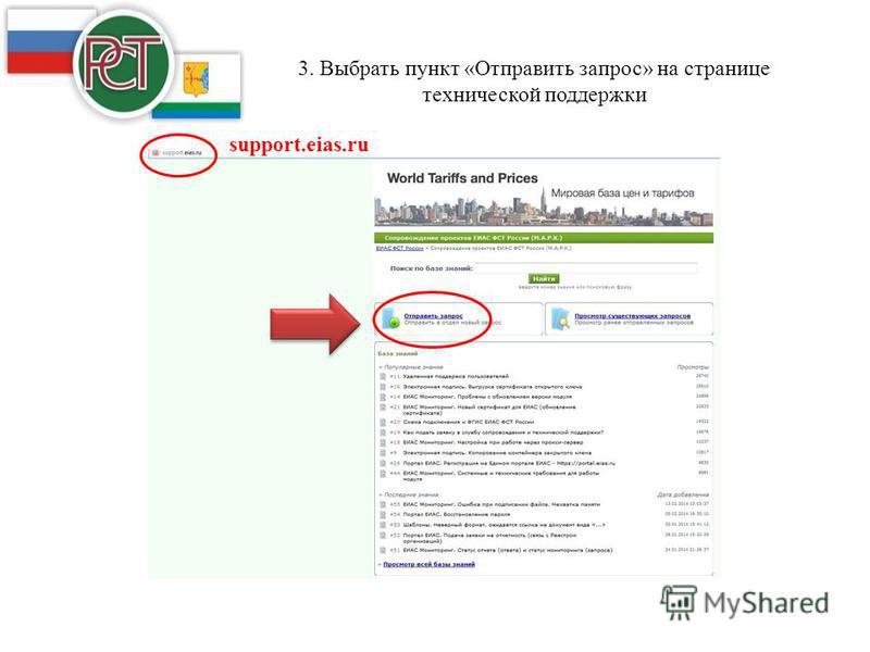 3. Выбрать пункт «Отправить запрос» на странице технической поддержки support.eias.ru