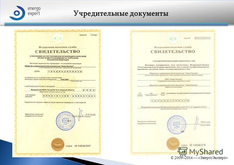 Учредительные документы © 2009–2014 «Энерго Эксперт»