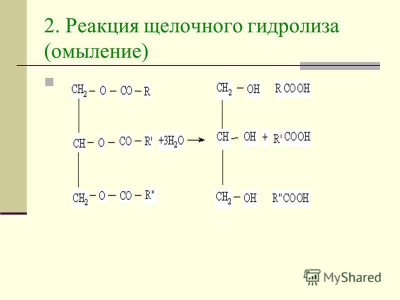 2. Реакция щелочного гидролиза (омыление)