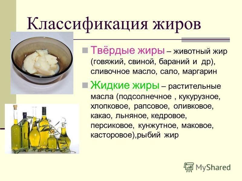 Классификация жиров Твёрдые жиры – животный жир (говяжий, свиной, бараний и др), сливочное масло, сало, маргарин Жидкие жиры – растительные масла (подсолнечное, кукурузное, хлопковое, рапсовое, оливковое, какао, льняное, кедровое, персиковое, кунжутн