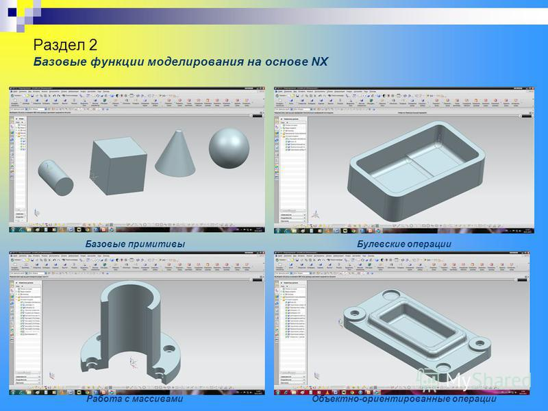 Раздел 2 Базовые функции моделирования на основе NX Базовые примитивы Булевские операции Объектно-ориентированные операции Работа с массивами