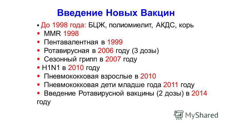 Введение Новых Вакцин До 1998 года: БЦЖ, полиомиелит, АКДС, корь MMR 1998 Пентавалентная в 1999 Ротавирусная в 2006 году (3 дозы) Сезонный грипп в 2007 году H1N1 в 2010 году Пневмококковая взрослые в 2010 Пневмококковая дети младше года 2011 году Вве