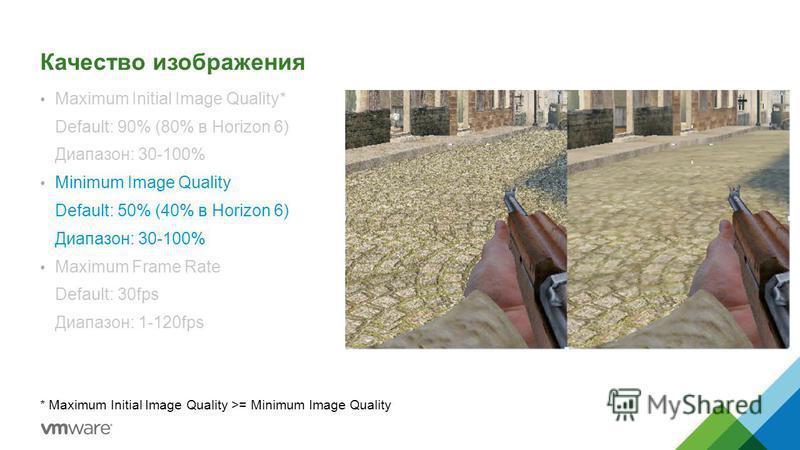 Качество изображения Maximum Initial Image Quality* Default: 90% (80% в Horizon 6) Диапазон: 30-100% Minimum Image Quality Default: 50% (40% в Horizon 6) Диапазон: 30-100% Maximum Frame Rate Default: 30fps Диапазон: 1-120fps * Maximum Initial Image Q