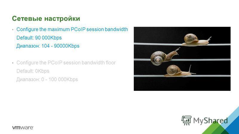Сетевые настройки Configure the maximum PCoIP session bandwidth Default: 90 000Kbps Диапазон: 104 - 90000Kbps Configure the PCoIP session bandwidth floor Default: 0Kbps Диапазон: 0 - 100 000Kbps