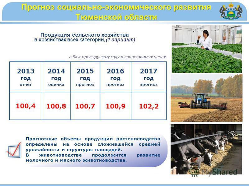 в % к предыдущему году в сопоставимых ценах Продукция сельского хозяйства в хозяйствах всех категорий, (1 вариант) Прогноз социально-экономического развития Тюменской области Прогнозные объемы продукции растениеводства определены на основе сложившейс