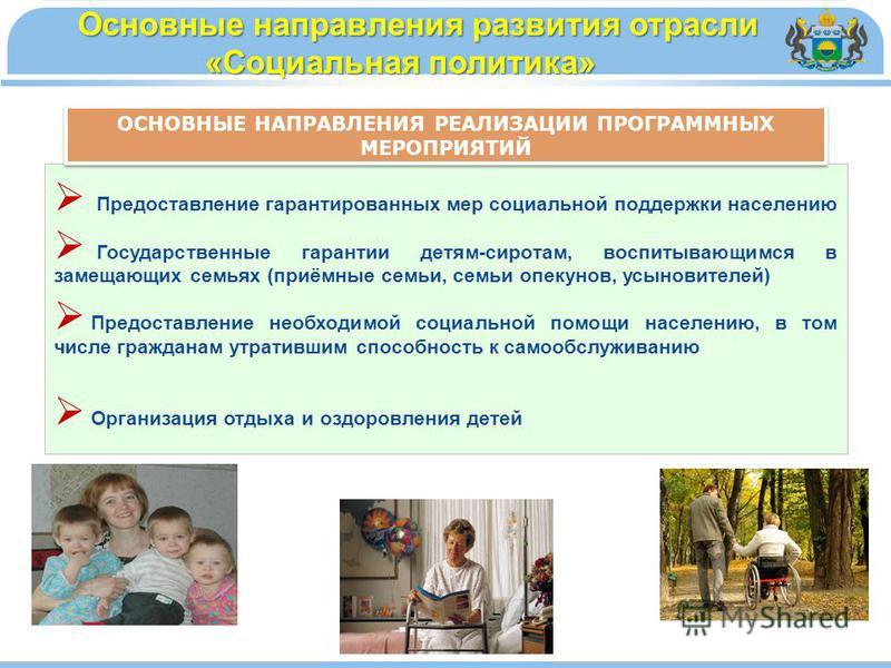Основные направления развития отрасли «Социальная политика» Основные направления развития отрасли «Социальная политика» Предоставление гарантированных мер социальной поддержки населению Государственные гарантии детям-сиротам, воспитывающимся в замеща
