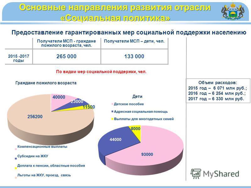 Объем расходов: 2015 год – 6 071 млн руб.; 2016 год – 6 254 млн руб.; 2017 год – 6 330 млн руб. Основные направления развития отрасли «Социальная политика» Получатели МСП - граждане пожилого возраста, чел. Получатели МСП – дети, чел. 2015 -2017 годы