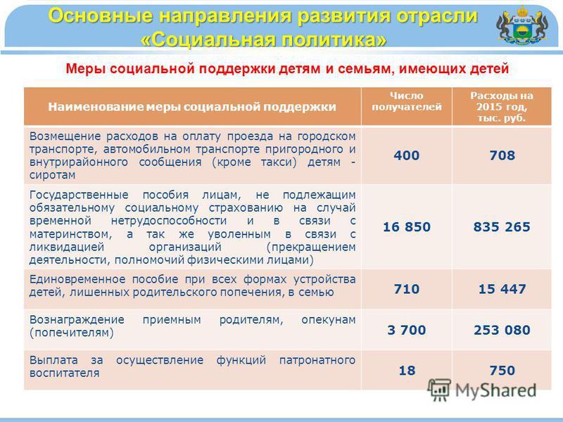 Наименование меры социальной поддержки Число получателей Расходы на 2015 год, тыс. руб. Возмещение расходов на оплату проезда на городском транспорте, автомобильном транспорте пригородного и внутрирайонного сообщения (кроме такси) детям - сиротам 400