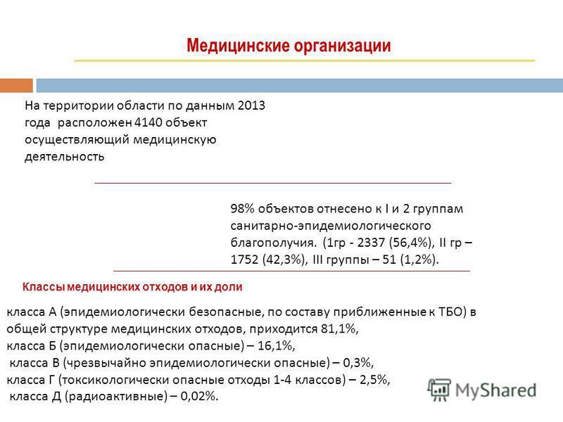 Медицинские организации На территории области по данным 2013 года расположен 4140 объект осуществляющий медицинскую деятельность 98% объектов отнесено к I и 2 группам санитарно-эпидемиологического благополучия. (1 гр - 2337 (56,4%), II гр – 1752 (42,