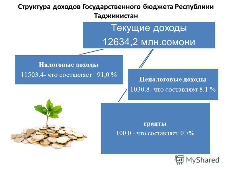 Структура доходов Государственного бюджета Республики Таджикистан Текущие доходы 12634,2 млн.самони Налоговые доходы 11503.4- что составляет 91,0 % Неналоговые доходы 1030.8- что составляет 8.1 % гранты 100,0 - что составляет 0.7%