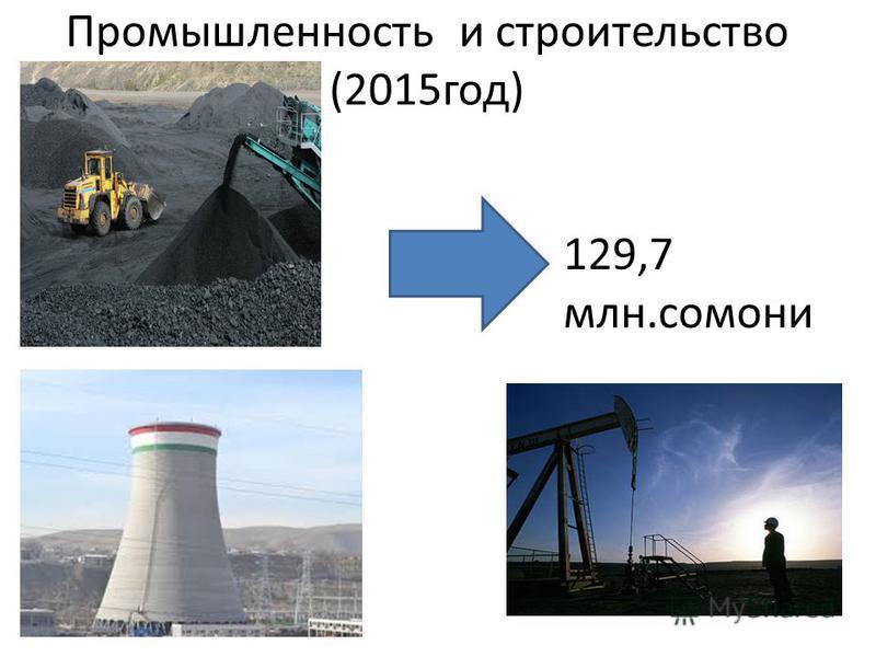 Промышленность и строительство (2015 год) 129,7 млн.самони